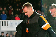 Newport County manager Michael Flynn walks to the dressingroom at half time during the The FA Cup match between Newport County and Middlesbrough at Rodney Parade, Newport, Wales on 5 February 2019.