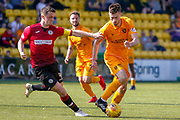 Ryan Hardie of Livingstone wins te ball under pressure from Stephen McGinn of St Mirren during the Ladbrokes Scottish Premiership match between Livingston and St Mirren at Tony Macaroni Arena, Livingstone, Scotland on 20 April 2019.