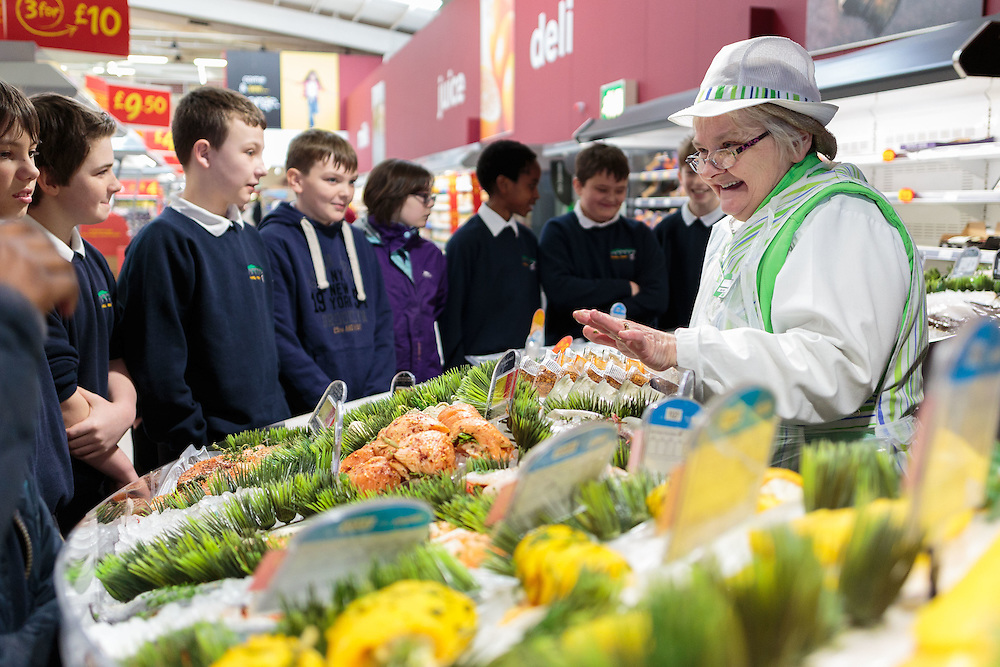 Monday 23rd March, 2015, Aberdeen, Scotland. 30 pupils from Kaimhill Primary School visit ASDA Bridge of Dee store for a bit of a workshop with the fish counter and also the fruit and veg team.<br /> <br /> <br /> (Photo: Ross Johnston / Newsline Media