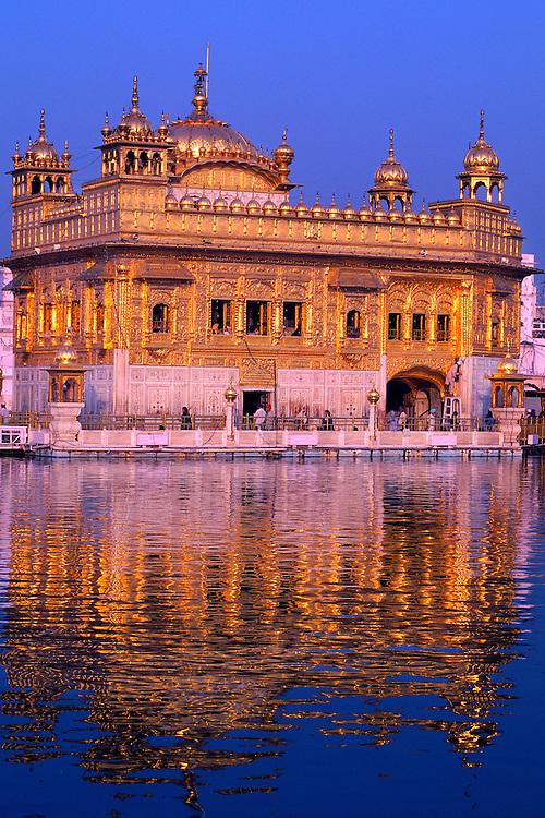 Sunset on the Golden Temple (holiest Sikh shrine), Amritsar, Punjab, India