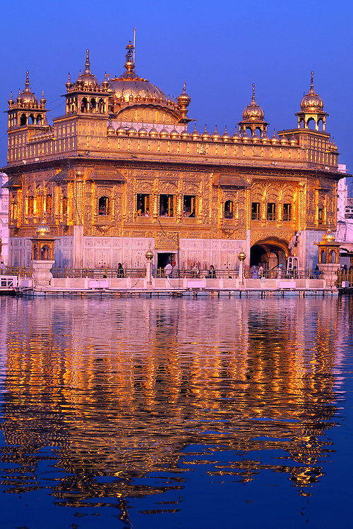 Sunset on the Golden Temple (holiest Sikh shrine), Amritsar, Punjab, India