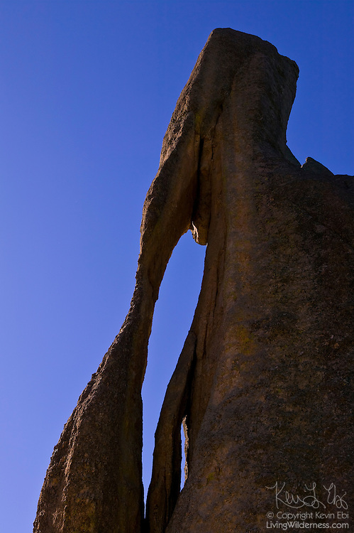 Needles Eye, a prominent granite formation in Custer State Park in South Dakota, stands nearly 40 feet tall and has an unusual slit that's only a few feet across. The granite in the Black Hills of South Dakota erodes at a rate of about one inch per 40,000 years.