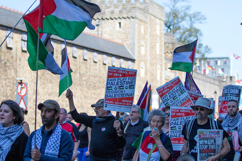 An estimated 1,700 pro-Palestinian campaigners marched past Cardiff Castle on their way to Cardiff City Stadium to protest against Israel's match with Wales in the UEFA Championships.