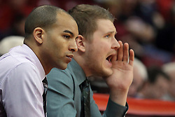 29 December 2014:  Jestion Anderson, Adam Notteboom during an NCAA non-conference interdivisional exhibition game between the Quincy University Hawks and the Illinois State University Redbirds at Redbird Arena in Normal Illinois.