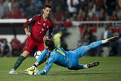 October 10, 2017 - Lisbon, Portugal - Portugal's forward Cristiano Ronaldo (L) vies for the ball with Switzerland's goalkeeper Yann Sommer (R)  during the FIFA World Cup WC 2018 football qualifier match between Portugal and Switzerland, in Lisbon, on October 10, 2017. (Credit Image: © Carlos Palma/NurPhoto via ZUMA Press)