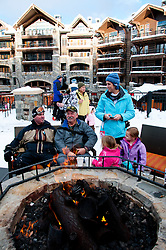 California: Outdoor firepits at skating rink at Northstar at Lake Tahoe.    Photo copyright Lee Foster.  Photo # cataho100588