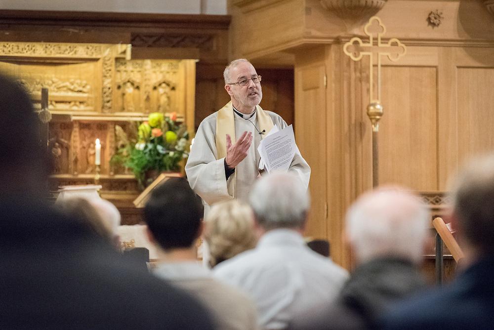 24 November 2019, Geneva, Switzerland: Rev. Michael Rusk presides over Sunday service at the Emmanuel Episcopal Church, Geneva.