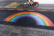 Rainbow for the NHS and key workers on the street under coronavirus lockdown on 1st July 2020 in London, England, United Kingdom. As the July deadline approaces and government will relax its lockdown rules further, the central London remains very quiet, while some non-essential shops are allowed to open with individual shops setting up social distancing systems.