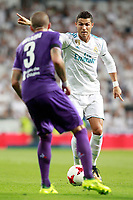Real Madrid's Cristiano Ronaldo (r) and ACF Fiorentina's Cristiano Biraghi during Santiago Bernabeu Trophy. August 23,2017. (ALTERPHOTOS/Acero)