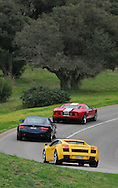 2005 Lamborghini Gallardo (Giallo Midas) 2008 Aston Martin DB9 S-Pack (Mariana Blue) .2005 Ford GT (Red / White) .Corporate Drive Day with Octane Events & The Supercar Club.Mornington Pennisula, Victoria .6th-7th of August 2009 .(C) Joel Strickland Photographics