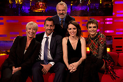 Host Graham Norton with (seated left to right) Emma Thompson, Adam Sandler, Claire Foy and Cara Delevingne during filming of the Graham Norton Show at the London Studios, to be aired on BBC One on Friday.