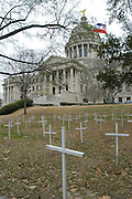 The lawn at the Mississippi State capital is covered in 1700 crosses that represent some of the 4000 abortions performed everday in america for the 30th anniversary of the Roe vs Wade Supreme court decision Wednesday January 22,2003.(photo/Suzi Altman)