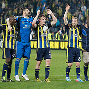 Fenerbahce's players celebrate victory during their UEFA Europa League Quarter Final first match Fenerbahce between Lazio at Sukru Saracaoglu stadium in Istanbul Turkey on Thursday 04 April 2013. Photo by Aykut AKICI/TURKPIX