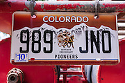 License plate on an old fire truck, Ridgway, Colorado USA