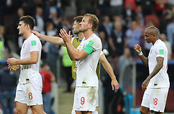 MOSCOW, July 11, 2018  Harry Kane (2nd R) of England greets the audience after the 2018 FIFA World Cup semi-final match between England and Croatia in Moscow, Russia, July 11, 2018. Croatia won 2-1 and advanced to the final. (Credit Image: © Yang Lei/Xinhua via ZUMA Wire)