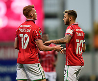 Lincoln City's Callum Morton, left, and Jorge Grant celebrates the opening goal<br /> <br /> Photographer Chris Vaughan/CameraSport<br /> <br /> Carabao Cup Second Round Northern Section - Bradford City v Lincoln City - Tuesday 15th September 2020 - Valley Parade - Bradford<br />  <br /> World Copyright © 2020 CameraSport. All rights reserved. 43 Linden Ave. Countesthorpe. Leicester. England. LE8 5PG - Tel: +44 (0) 116 277 4147 - admin@camerasport.com - www.camerasport.com
