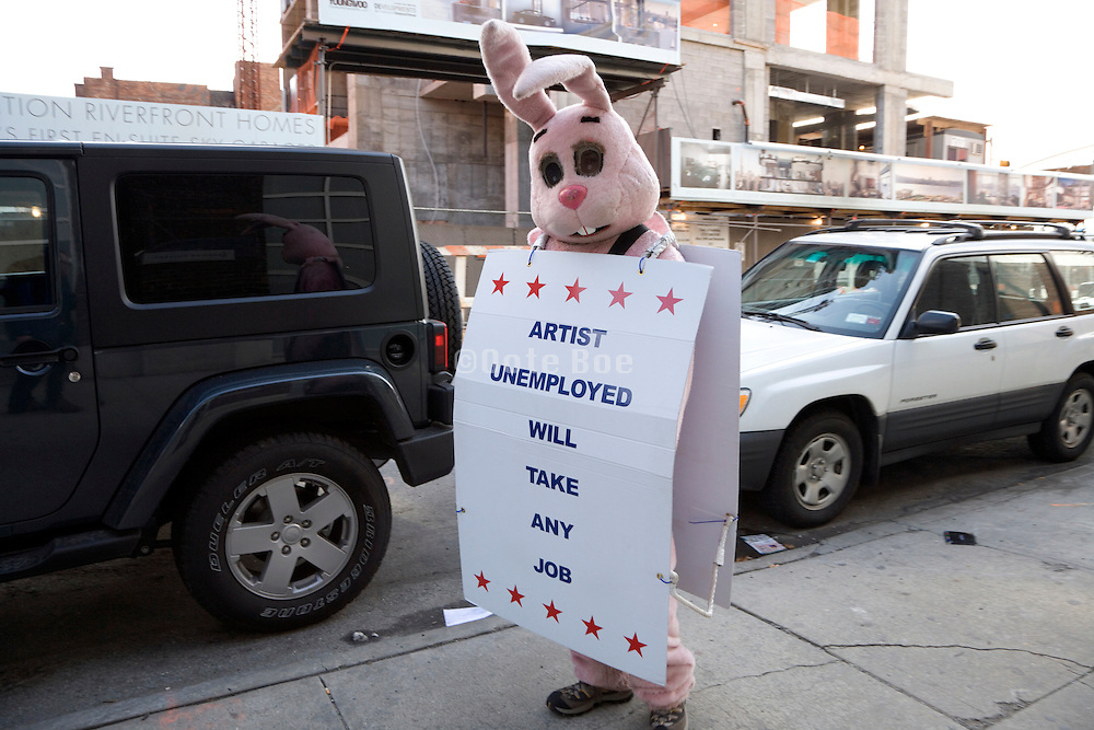 demonstrating artist unemployed will take any job in Chelsea New York