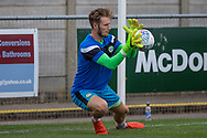 Forest Green Rovers goalkeeper Bradley Collins(1) warming up during the Pre-Season Friendly match between Weston Super Mare and Forest Green Rovers at the Woodspring Stadium, Weston Super Mare, United Kingdom on 18 July 2017. Photo by Shane Healey.