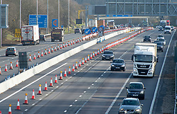 ©Licensed to London News Pictures 05/02/2020<br /> Maidstone, UK. Smart motorway construction work on the M20 near junction 3. The UK government has stopped all Smart motorway development schemes while it awaits the results of a review into their safety. This means a £92 million stretch of the M20 in Kent will not open as a smart motorway until the review has been completed. The new 6.5 mile section between junctions three and five near Maidstone was due to open next month but now may never open as a smart motorway. Photo credit: Grant Falvey/LNP