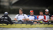 Putney, GREAT BRITAIN,Right to left. USA Eight. Dan BEERY, Brodie BUCKLAND, Tyler WINKLEVOSS, and Cameron WINKLEVOSS, Cox Colin GROSHONG.  during the pre Boat Race fixture, Oxford University BC vs USA [Select]  M8+.  08/03/2008. [Mandatory Credit, Peter Spurrier/Intersport-images]..Right to left..USA Eight. Dan BEERY, Brodie BUCKLAND, Tyler WINKLEVOSS, and Cameron WINKLEVOSS, Cox Colin GROSHONG. Varsity Boat Race, Rowing Course: River Thames, Championship course, Putney to Mortlake 4.25 Miles,