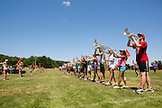 The Oregon Marching Band, collectively known as Shadow Armada, practices in Sutton's Bay, Michigan on July 11, 2012.