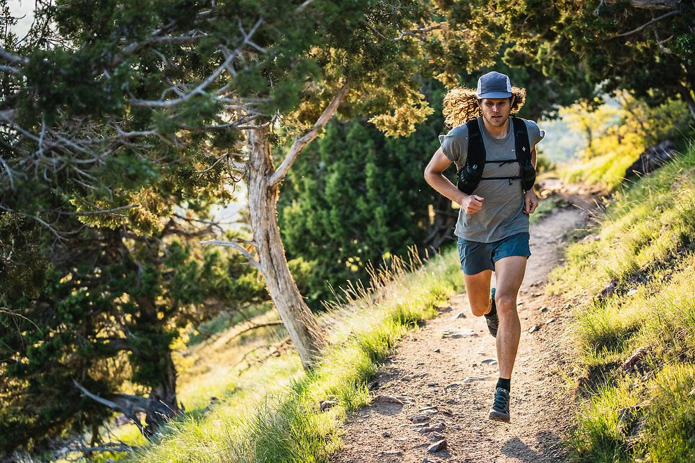 Joe Grant runs up the Mount Olympus Trail, Wasatch Range, Utah.