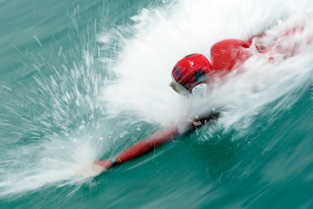OCEANSIDE, CA, August 21, 2004: Participants compete in the World Bodysurfing Championship in Oceanside, California.