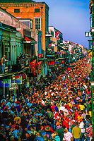 Huge crowd pack Bourbon Street on Fat Tuesday, Mardi Gras, New Orleans, Louisiana USA