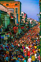 Huge crowd pack Bourbon Street on Fat Tuesday, Mardi Gras, New Orleans, Louisiana USA