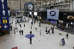 © Licensed to London News Pictures. 07/09/2020. London, UK. Passengers on concourse at Waterloo Station at 8am. Train capacity is supposed to reach 90% today as holidays come to an end and schools return. Photo credit: Peter Macdiarmid/LNP