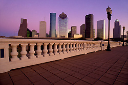 Stock photo of an evening view of the Houston,Texas skyline from the Sabine Street bridge