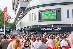 Fans watch the game on the outdoor big screen at Ashton Gate - Ryan Hiscott/JMP - 11/07/2018 - FOOTBALL - Ashton Gate - Bristol, England - England v Croatia, World Cup Village at Ashton Gate, FIFA World Cup Semi Final 2018