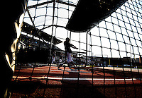 Texas A&M's Austin Homan (25) takes in batting practice before the start of a NCAA college baseball Super Regional tournament game against TCU, Saturday, June 11, 2016, in College Station, Texas. Texas A&M won 7-1 to even the series at 1-1. (AP Photo/Sam Craft)