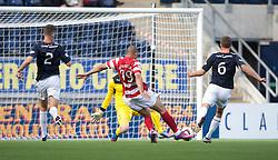 Hamilton's Mickeal Antoine-Curier scoring their first goal.<br /> Falkirk 1 v 2 Hamilton, Scottish Championship 31/8/2013.<br /> ©Michael Schofield.
