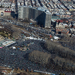 A Sea of people jam in front of the Philadelphia Museum of Art during the Philadelphia Eagles NFL football team Super Bowl victory parade Thursday, Feb. 8, 2018,  The Eagles beat the New England Patriots 41-33 in Super Bowl 52.