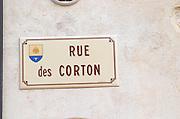 Rue des Corton.  Aloxe-Corton village, Cote de Beaune, d'Or, Burgundy, France