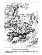 """The Tortoise Goes Wild. The Hares. """"Great heavens! If he goes on like that we shall have to call the race off."""" (Germany, Italy, Russia and France as Hares look stunned as British tortoise, Neville Chamberlain, races ahead with £1.5billion in re-armament funding)"""