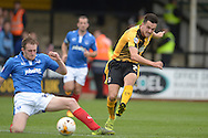 Ryan Donaldson of Cambridge United takes a shot on goal from outside the box. Skybet football league two match, Cambridge Utd v Portsmouth at the Abbey Stadium  in Cambridge on Saturday 10th October 2015.<br /> pic by John Patrick Fletcher, Andrew Orchard sports photography.