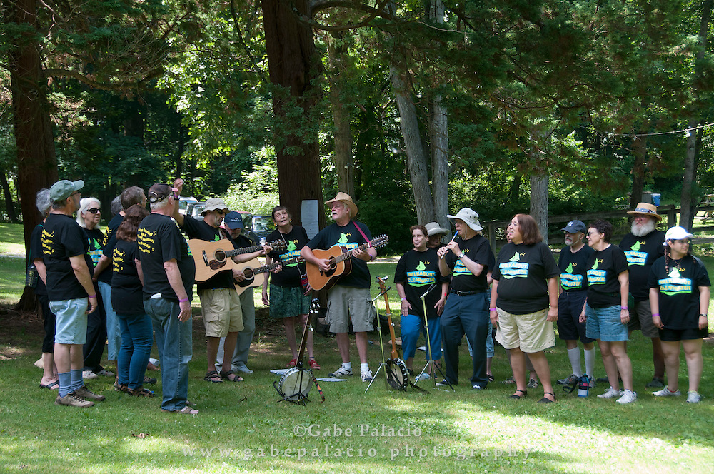 The Walkabout Clearwater Chorus singing at the American Roots Music Festival at Caramoor in Katonah New York.photo by Gabe Palacio