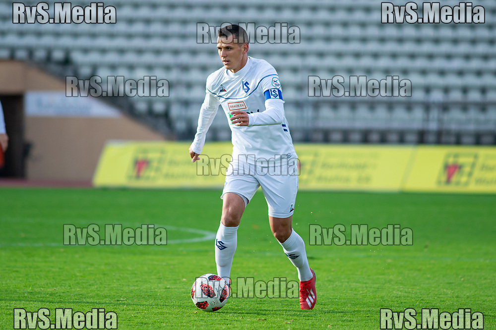 LAUSANNE, SWITZERLAND - NOVEMBER 10: #7 Stjepan Kukuruzovic of FC Lausanne-Sport in action during the Challenge League game between FC Lausanne-Sport and FC Schaffhausen at Stade Olympique de la Pontaise on November 10, 2019 in Lausanne, Switzerland. (Photo by Monika Majer/RvS.Media)