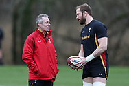 Robert Howley, the Wales coach (l) chats to Alun Wyn Jones, the Wales captain during the Wales Rugby team training at the Vale Resort, Hensol near Cardiff, South Wales on Wednesday 8th March 2017. The team are preparing for the the RBS Six nations match against Ireland.  pic by  Andrew Orchard, Andrew Orchard sports photography.