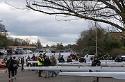 Molesey, Surrey. Crews waiting to boat on the concourse in front of the Molesey BC Boathouse. Molesey Veterans Head. Saturday  21/02/2015  [Mandatory Credit; Peter Spurrier/Intersport-images]