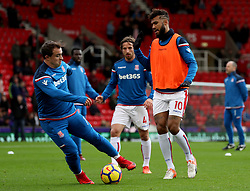 Stoke City's Joe Allen (left) and Stoke City's Eric Maxim Choupo-Moting during warm-up