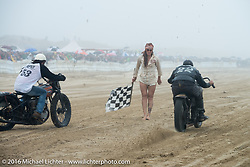 Sara Violette drops the flag as Rick Petko on his Flathead Harley racer goes up against Matt Walksler on his 1924 Harley-Davidson JD Cutdown at TROG West - The Race of Gentlemen. Pismo Beach, CA, USA. Saturday October 15, 2016. Photography ©2016 Michael Lichter.