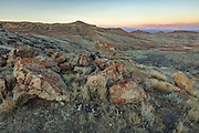 Bighorn basin of Wyoming at sunset,r ocks and baklands