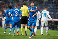 Getafe Bruno Gonzalez talking with the referee during La Liga match between Real Madrid and Getafe CF  at Santiago Bernabeu Stadium in Madrid , Spain. March 03, 2018. (ALTERPHOTOS/Borja B.Hojas)