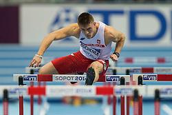 08.03.2014, Ergo Arena, Sopot, POL, IAAF, Leichtathletik Indoor WM, Sopot 2014, im Bild DOMINIK BOCHENEK 60 m PRZEZ PLOTKI // DOMINIK BOCHENEK 60 m PRZEZ PLOTKI during day two of IAAF World Indoor Championships Sopot 2014 at the Ergo Arena in Sopot, Poland on 2014/03/08. EXPA Pictures © 2014, PhotoCredit: EXPA/ Newspix/ Radoslaw Jozwiak<br /> <br /> *****ATTENTION - for AUT, SLO, CRO, SRB, BIH, MAZ, TUR, SUI, SWE only*****