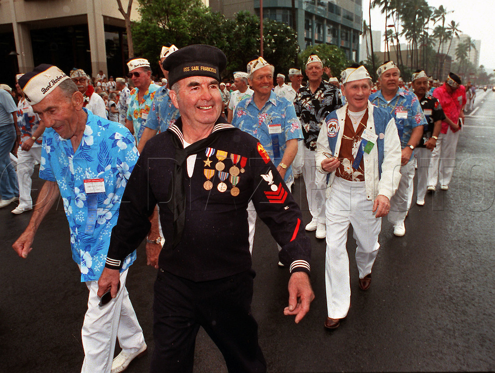 Pearl Harbor Veterans from South Florida, march on parade in Oahu, Hawaii on December 6th, 1991, for the 50th anniversary of Japanese attack on Pearl Harbor