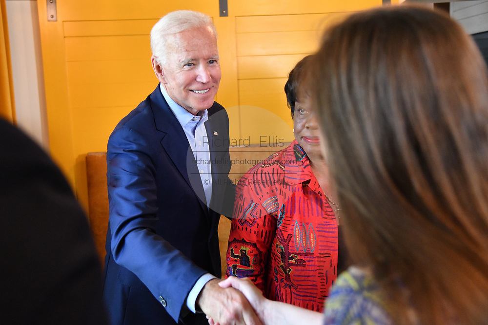 Democratic presidential hopeful former Vice President Joe Biden greets local officials before a lunch at the Butcher and Bee July 7, 2019 in Charleston, South Carolina. Riley, mayor of the city for 42-years has endorsed the former Vice President.