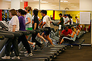 Google employees exercise at the Googleplex campus in Mountain View, Calif. on May 15, 2007. (Photo by Jakub Mosur/For Boston Globe)